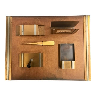 Silvercrest American Art Deco Six Piece Bronze Desk Set, 1930s For Sale