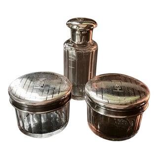 1920s Cartier Sterling Silver Vanity Jars - Set of 3