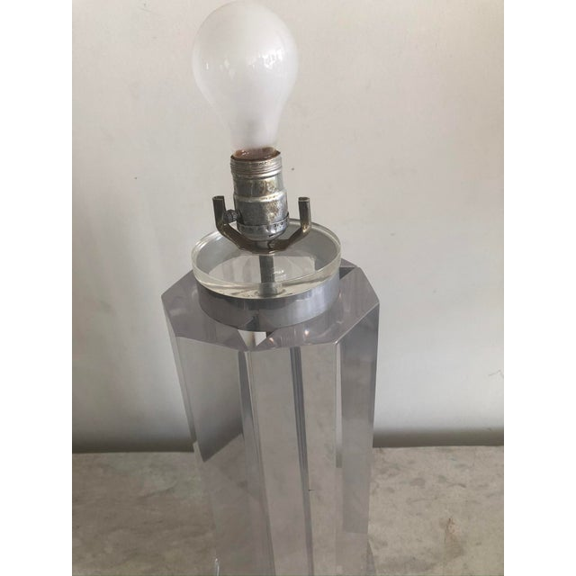 Mid-Century Lucite Polygonal Lamp with Black Shade For Sale - Image 11 of 13