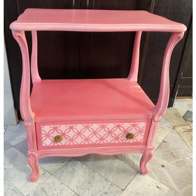 Shabby Chic Pink Nightstand - Image 2 of 5