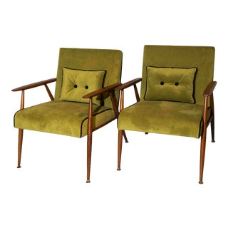 Vintage Mid Century Lounge Arm Chairs Green Velvet Upholstery Designed by Thonet - a Pair