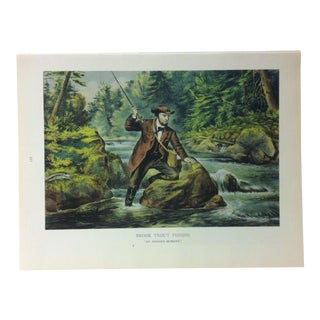 "1960s Currier & Ives Chronicles of America Color Print ""Brook Trout Fishing"" For Sale"