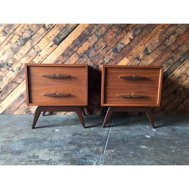 Mid-Century Sculpted Handle Nightstands - A Pair - Image 2 of 6