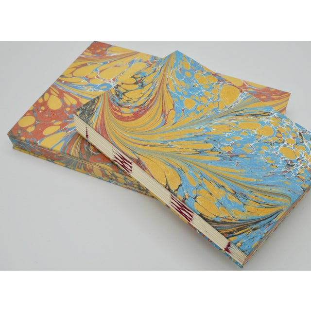 Yellow & Blue Coptic Notebooks- a Pair For Sale - Image 6 of 12