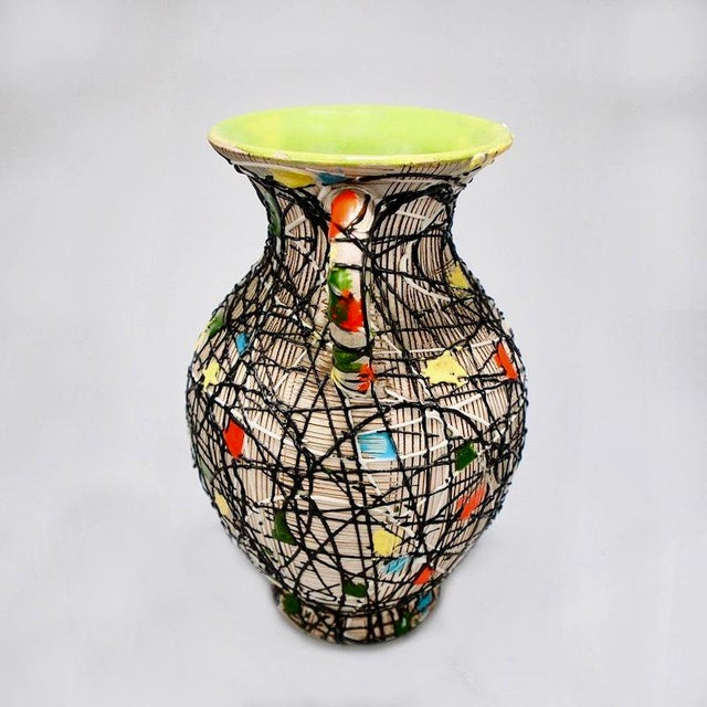 Fratelli Fanciullacci Mid-Century Fratelli Fanciullacci Italian Art Pottery Vase With Handles For Sale - Image 4 of 8
