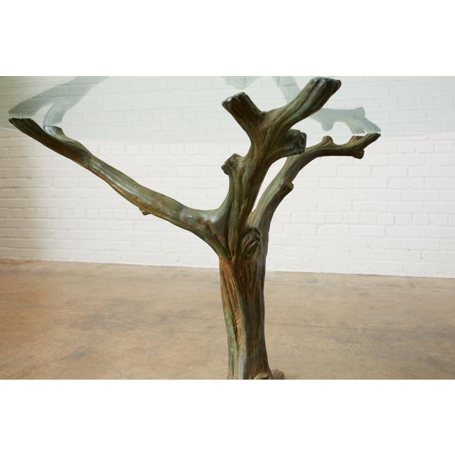 Mid 20th Century French Bronze Faux Bois Tree Sculpture Dining Table For Sale - Image 5 of 13
