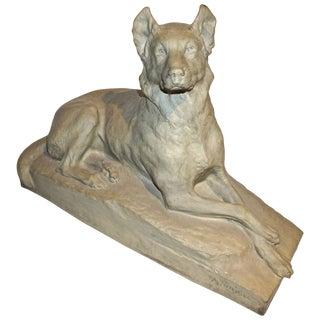 Charles Virion 1920s Antique Gray Terracotta Sculpture of German Shepherd Dog For Sale