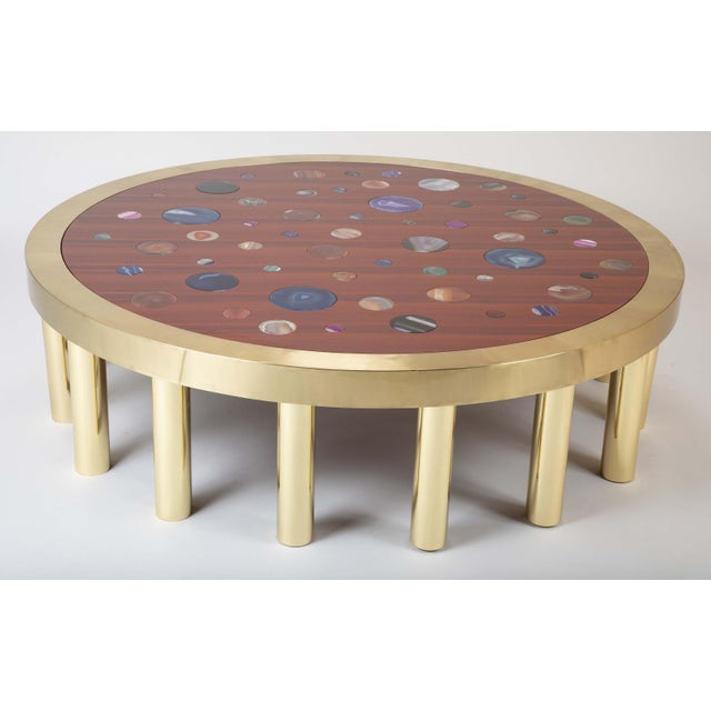 Large Agate Inlaid Sapelle and Brass Coffee Table For Sale - Image 10 of 12