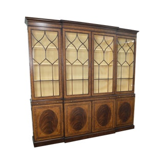 EJ Victor Large Mahogany & Satin Wood Inlaid Breakfront China Cabinet For Sale