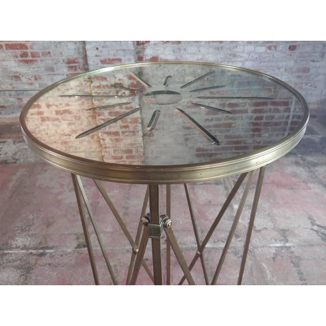 1960s French Director Empire Campaign Bronze Tall Side Table For Sale - Image 5 of 8