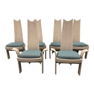 20th Century Rattan Tall Back Dining Chairs, Set of 6 For Sale