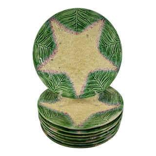 19th Century GSH Etruscan Majolica Cauliflower Plates, s/8 For Sale