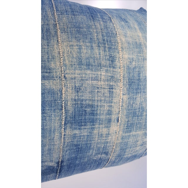 Faded Denim African Mud Cloth Pillow Cover - Image 4 of 6