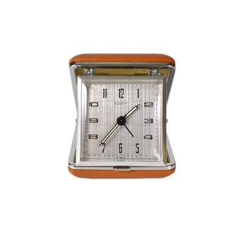 Vintage Equity Wind Up Folding Traveler Alarm Clock With Hard Case For Sale