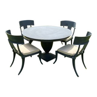 Restoration Hardware Klismos Round Dining Table and Chairs- 5 Pieces For Sale