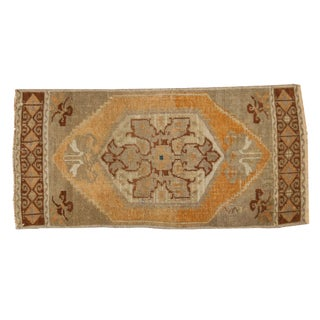 "Vintage Distressed Oushak Rug Mat - 1'6"" X 3'1"" For Sale"
