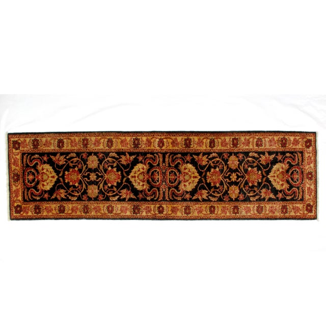 this master piece is a very fine genuine hand made vegetable dye Zeigler runner in mint condition.