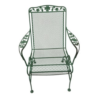 Vintage Green Russell Woodard Coil Spring High Back Patio Chair For Sale