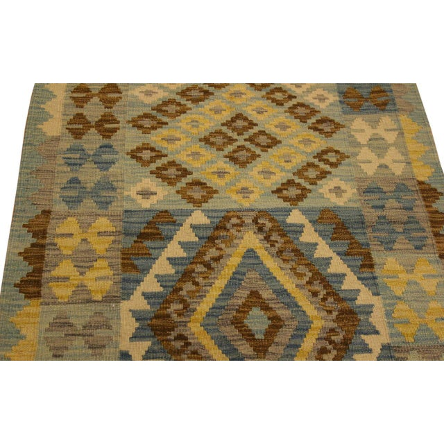 1990s Contemporary Tribal Roseann Blue/Gray Hand-Woven Kilim Wool Rug -2'8 X 4'1 For Sale - Image 5 of 8