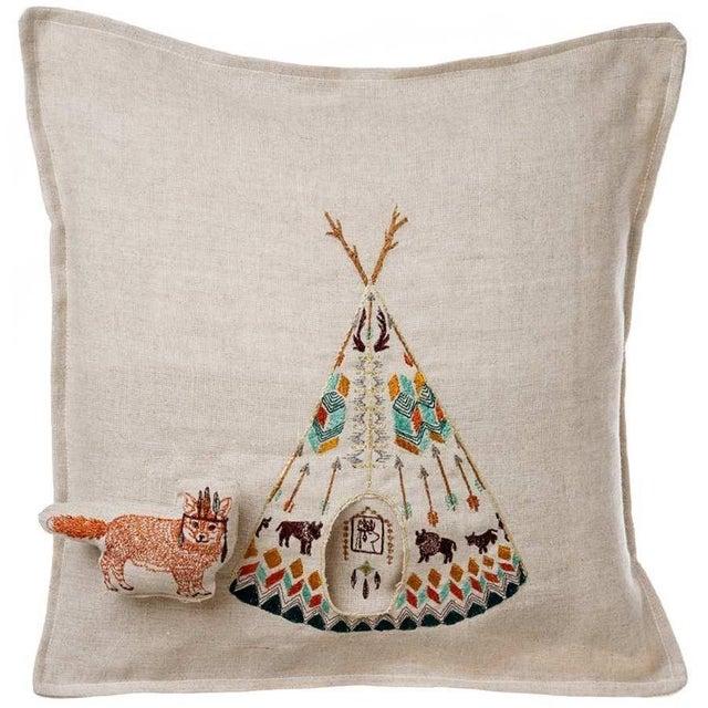 Linen Contemporary Linen Plains Fox Pocket Pillow For Sale - Image 7 of 7