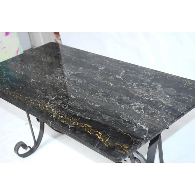Baroque Italian Wrought Iron and Black Marble Dining Table For Sale - Image 3 of 10