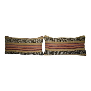 Set of Two Organic Wool Outdoor Turkish Old Kilim Pillow Covers, Tribal Design Ethnic Case 12'' X 24'' (30 X 60 Cm) For Sale