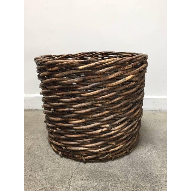 French Vintage Oversized Harvest Wicker Basket For Sale - Image 10 of 10