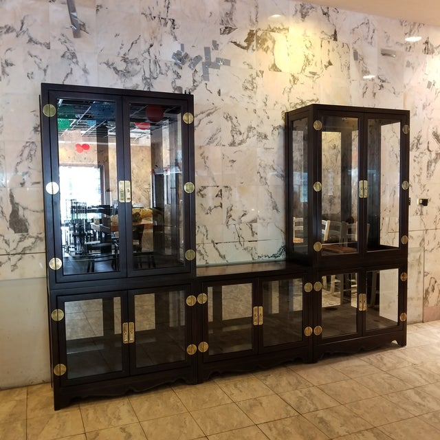 Drexel Asian Modern Glass Curio Display Cabinets - 3 Pieces - Image 2 of 7