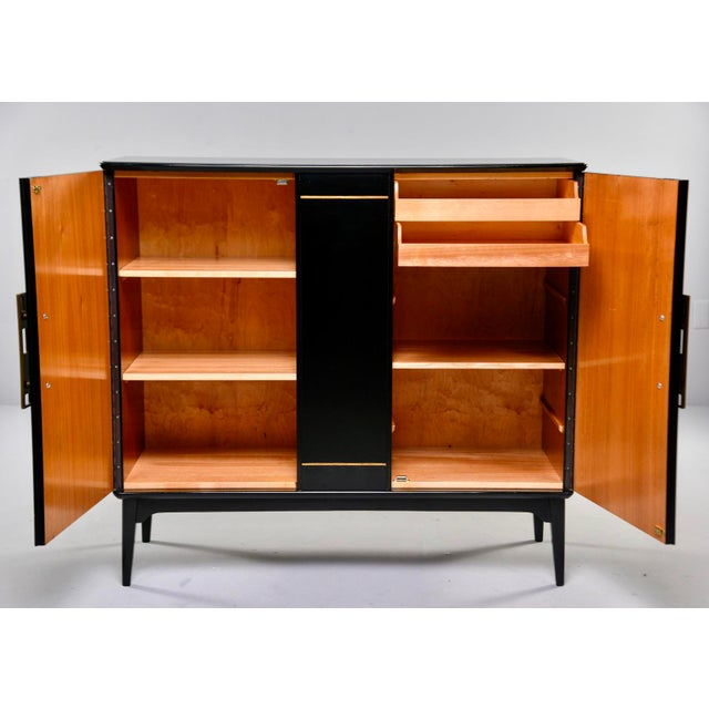 1950s Mid Century Swedish Ebonized Two-Door Cabinet With New Brass Hardware For Sale - Image 5 of 11