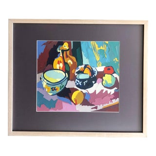 Mid Century Painting Still Life Paper Assemblage For Sale