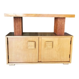 Paul Frankl Brown Saltman Combed Wood Console Cabinet For Sale