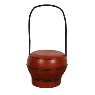 Antique Chinese Red Wooden Wedding Bucket/Box
