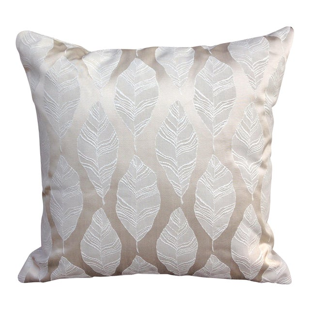 Cream and Gold Embroidered Leaf Print Pillow - Image 1 of 4