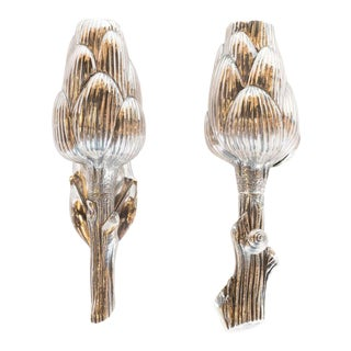 Handcrafted Sterling Silver Artichoke Salt Shaker and Pepper Mill by Missiaglia - a Pair For Sale