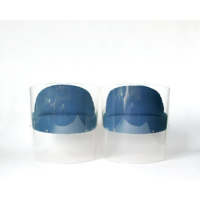 Space Age Lucite Barrel Lounge Chairs - a Pair For Sale - Image 4 of 13