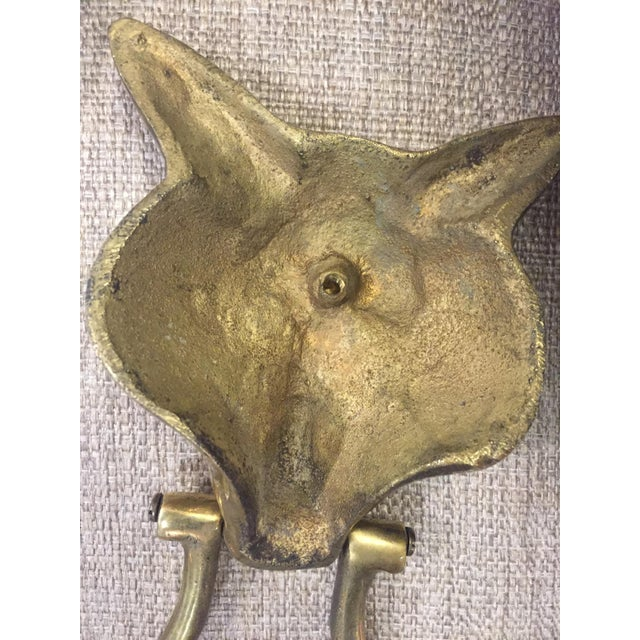 1940s Pair of Solid Brass Fox Door Knockers For Sale - Image 5 of 7