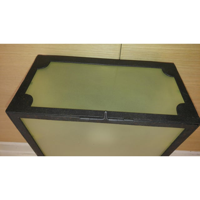 English Reborn Lighting Custom Black Iron Finish & Frosted Glass Square Flush Mount Fixture For Sale - Image 3 of 7