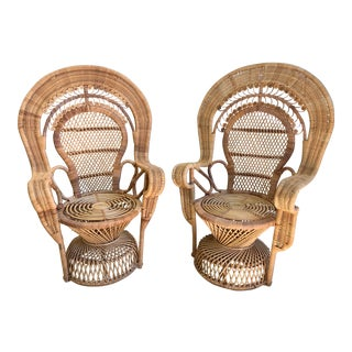 1970's Rattan Manila Fan Back Arm Chairs - a Pair For Sale