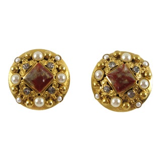French Henry Perichon Gilt Metal Clip-On Earrings Jeweled Paved For Sale