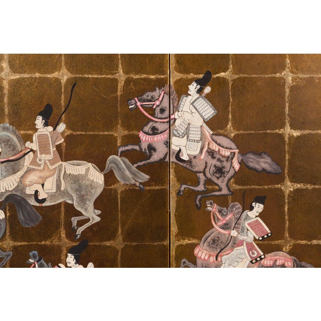 """Lawrence & Scott """"Samurai Dressed Parade"""" Japanese-Style 6-Panel Ink on Gold Foil Paper Folding Screen by Lawrence & Scott For Sale - Image 4 of 13"""