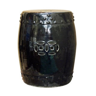 Asian Black Porcelain Double Coin Round Stool For Sale