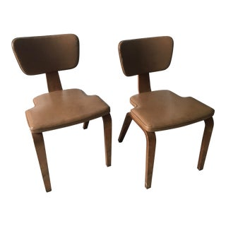Vintage Mid Century Atkinson/Thonet Bentwood Vinyl Chairs - a Pair For Sale