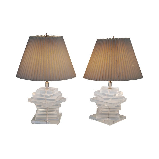 Mid-Century Stacked Lucite Lamps - Pair For Sale