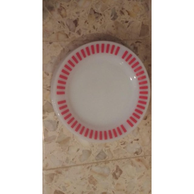 Hazel Atlas Red Candy Stripe Dinner Plates - Set of 8 For Sale - Image 11 of 11