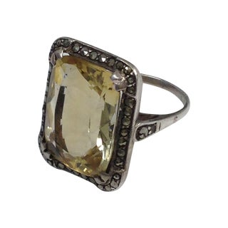 Vintage Art Deco Style Sterling Citrine Ring S7