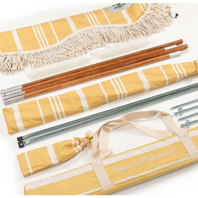 Contemporary Premium Beach Tent - Vintage Yellow Stripe with Fringe For Sale - Image 3 of 4