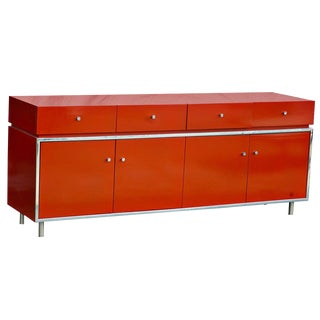 Thomasville Founders Orange Lacquered Credenza For Sale