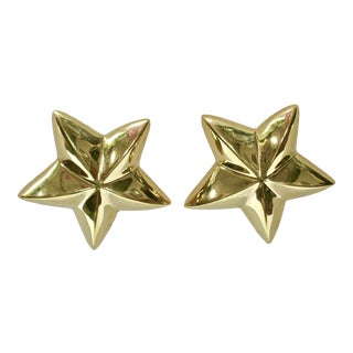 1980s Givenchy Gold-Plated Star Earrings For Sale