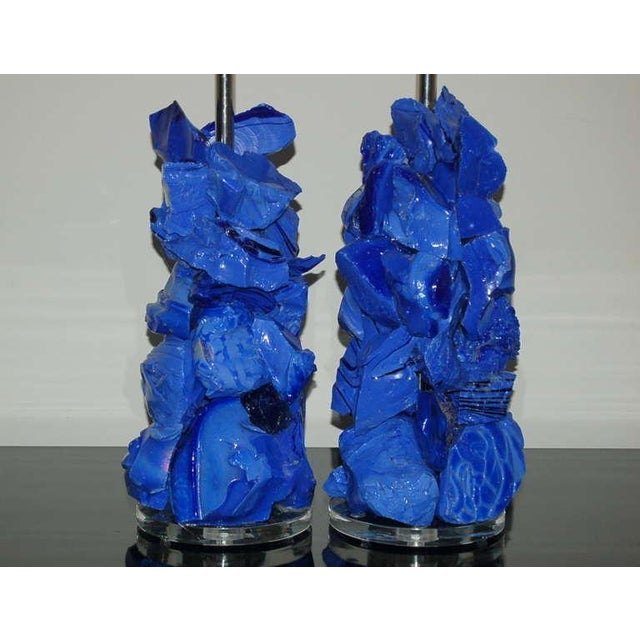 Glass Rock Table Lamps by Swank Lighting Blue - a Pair For Sale - Image 9 of 10