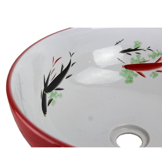 Pasargad DC Modern Red & White Motif Sink Bowl For Sale In Washington DC - Image 6 of 6